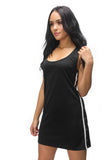 THE MYSTYLEMODE BLACK WITH WHITE STRIPE SNAP BUTTON TANK MIDI DRESS
