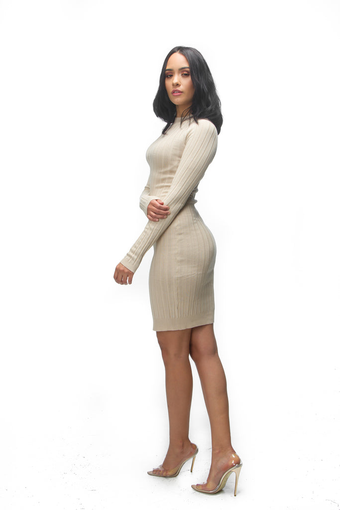 THE MYSTYLEMODE TAUPE RIBBED LONG SLEEVE KNEE LENGTH DRESS