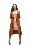 THE MYSTYLEMODE RUST CASCADING FRONT LONG TRENCH COAT