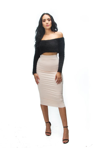 THE MYSTYLEMODE BLACK RIBBED SIDE SLIT DOUBLE LINED MAXI SKIRT