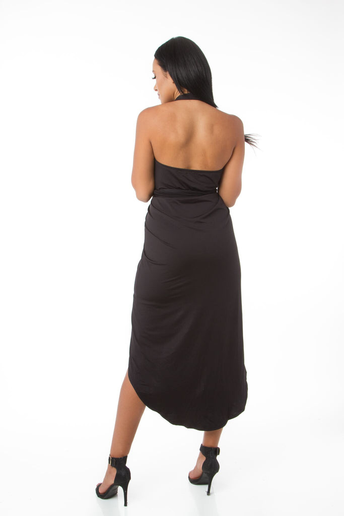 THE MYSTYLEMODE BLACK HALTER HIGH LOW WRAP DRESS
