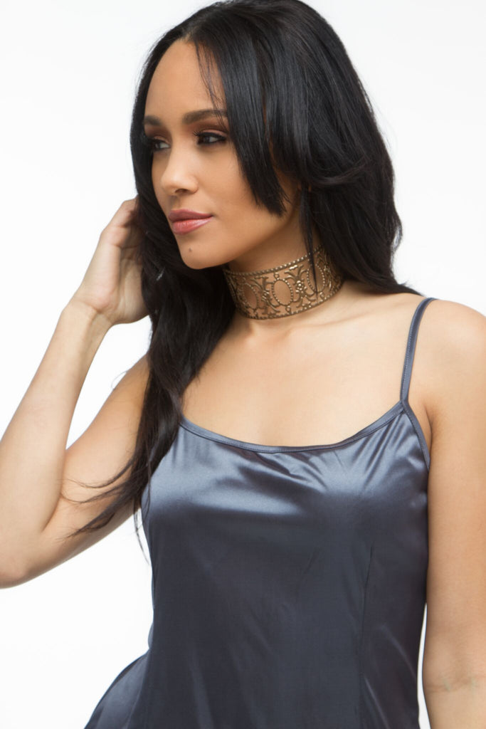 THE MYSTYLEMODE CHARCOAL SATIN MINI DRESS