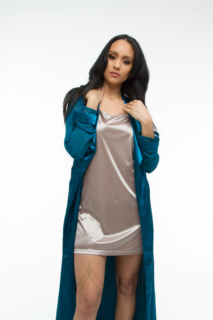 THE MYSTYLEMODE TAUPE SATIN MINI DRESS