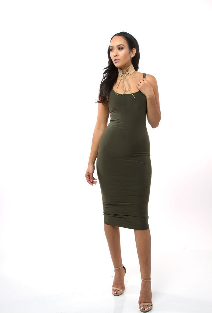 THE MYSTYLEMODE OLIVE ESSENTIAL DOUBLE LINED TANK MIDI DRESS
