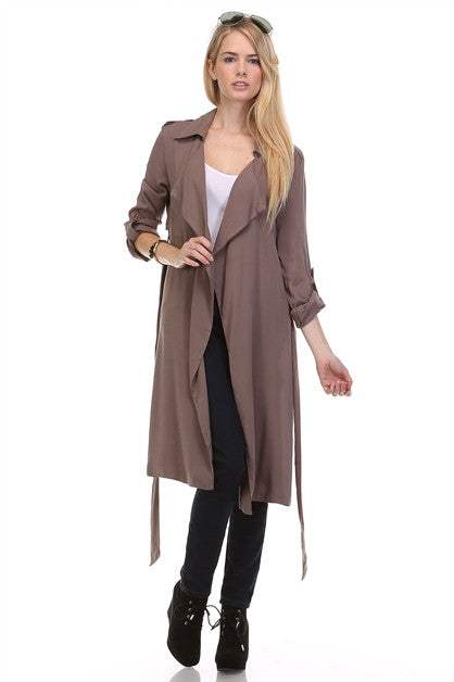 KHAKI OLIVE DRAPED BELTED TRENCH COAT JACKET