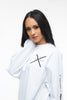 THE MYSTYLEMODE MENSWEAR WHITE MSM LOGO LONG SLEEVE TEE