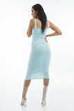 THE MYSTYLEMODE LIGHT BLUE ESSENTIAL DOUBLE LINED TANK MIDI DRESS
