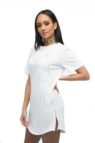 FINAL SALE-THE MYSTYLEMODE WHITE SUEDE DOUBLE LINED OFF THE SHOULDER MIDI DRESS