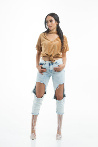 THE MYSTYLEMODE WHITE BECK OVERSIZED AND DISTRESSED TEE