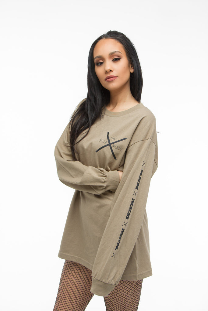 THE MYSTYLEMODE MENSWEAR TAN MSM LOGO LONG SLEEVE TEE