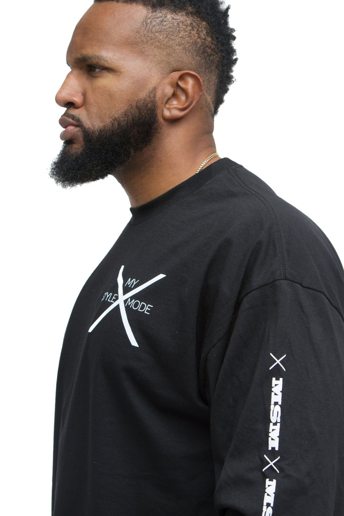 THE MYSTYLEMODE MENSWEAR BLACK MSM LOGO LONG SLEEVE TEE