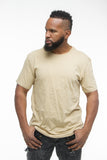 THE MYSTYLEMODE MENSWEAR TAN SIDE SLIT TEE