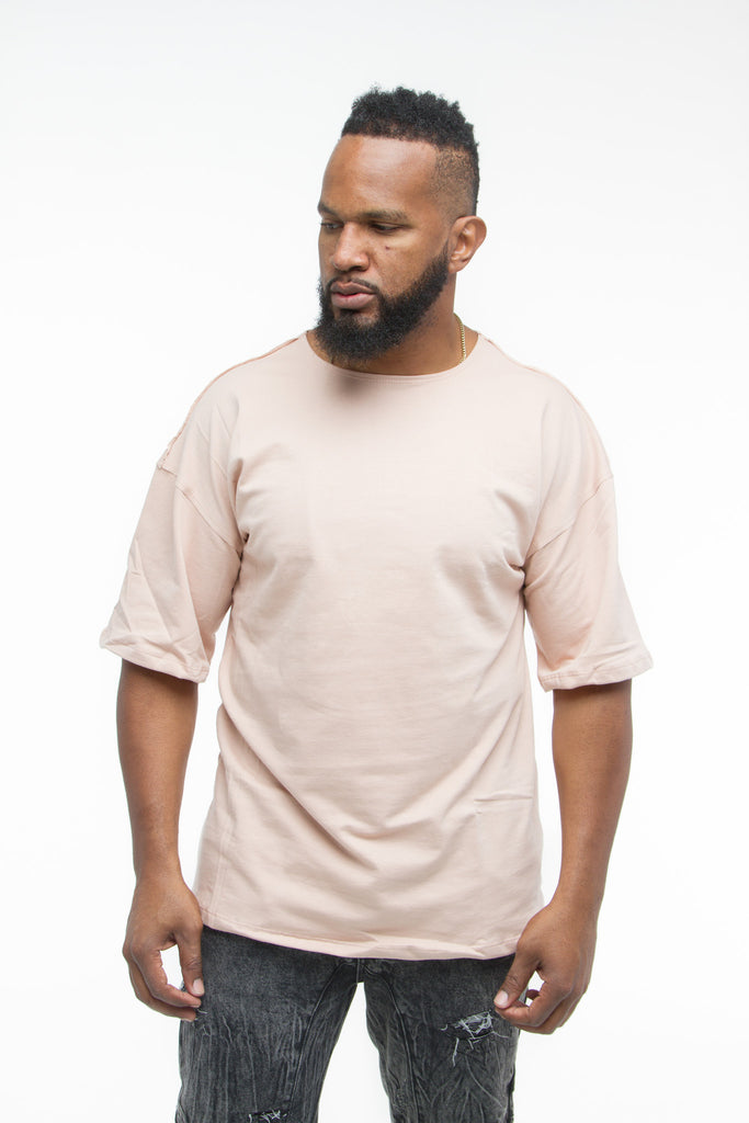 THE MYSTYLEMODE MENSWEAR DUSTY PINK DROP DOWN SHOULDER TEE