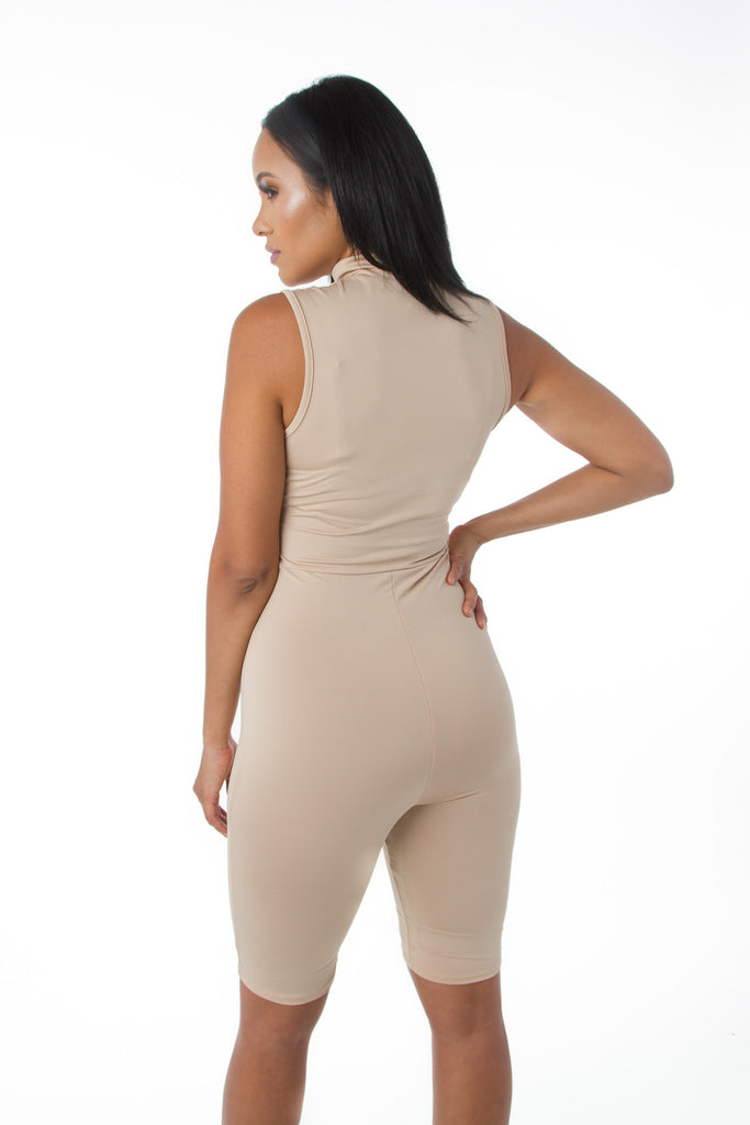 THE MYSTYLEMODE NUDE MOCK NECK SHORT JUMPSUIT WITH ZIPPER