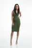 THE MYSTYLEMODE OLIVE KNIT RIBBED TANK MIDI DRESS