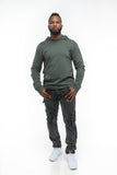 THE MYSTYLEMODE MENSWEAR OLIVE DISTRESSED HOODIE