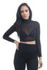 THE MYSTYLEMODE BLACK LONG SLEEVE MOCK NECK MESH CROP TOP