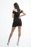 THE MYSTYLEMODE BLACK RIBBED OFF THE SHOULDER FRAYED MINI DRESS