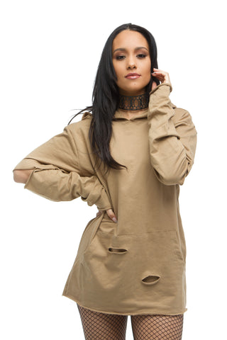 THE MYSTYLEMODE CAMEL LONG SLEEVE RIBBED COWL NECK BODYSUIT
