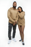 THE MYSTYLEMODE MENSWEAR TAN DISTRESSED HOODIE
