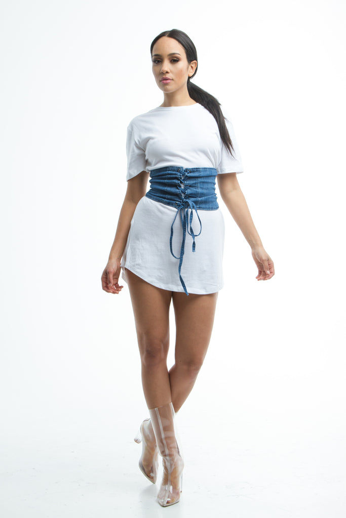 THE MYSTYLEMODE BLUE WASHED DENIM CORSET BELT