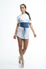 FINAL SALE- THE MYSTYLEMODE BLUE WASHED DENIM CORSET BELT