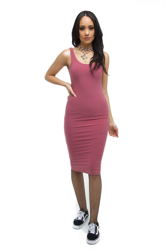 239aa3dac1 THE MYSTYLEMODE MAUVE ESSENTIAL DOUBLE LINED TANK MIDI DRESS