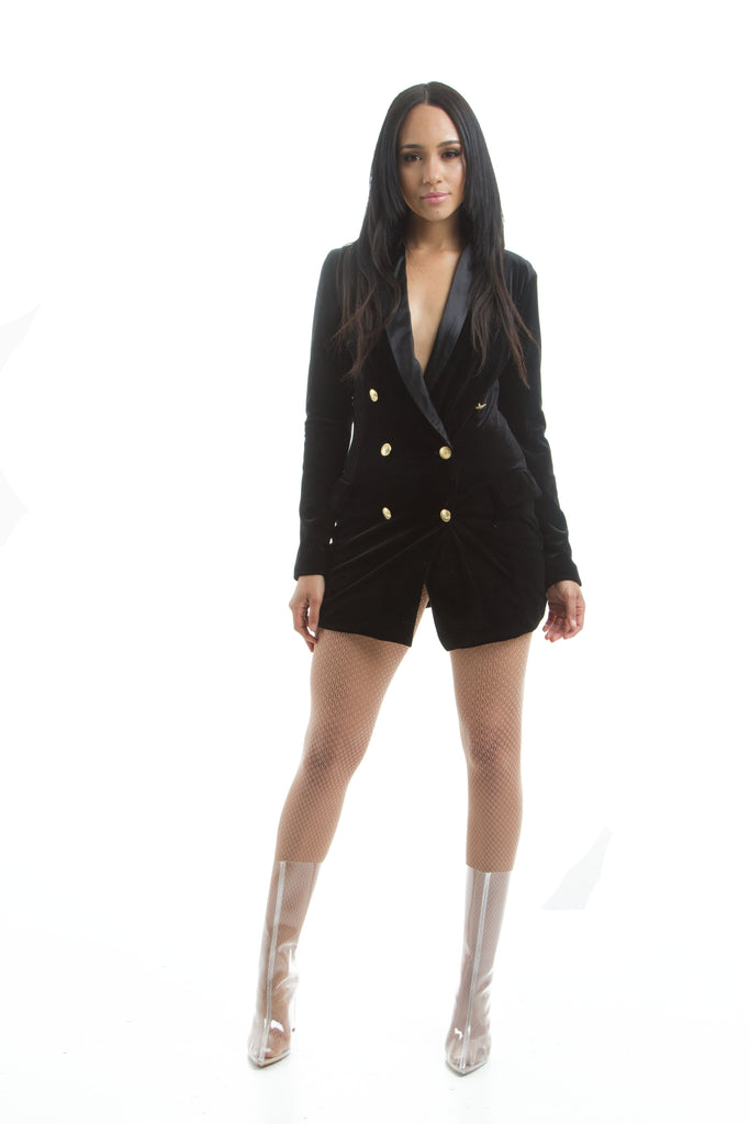 THE MYSTYLEMODE BLACK VELVET TUXEDO JACKET DRESS