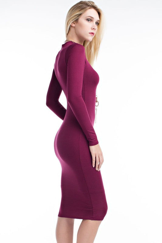 THE MYSTYLEMODE BURGUNDY DOUBLE LINED LONG SLEEVE FUNNEL NECK MIDI DRESS