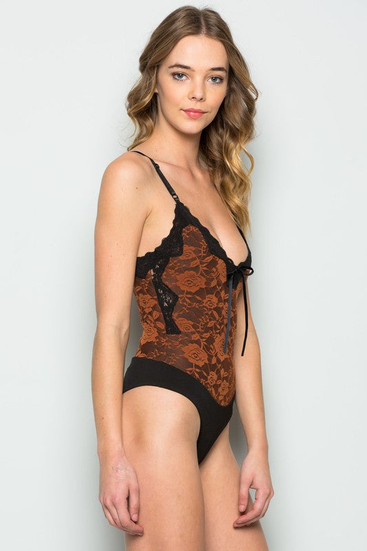 RUST LACE ON LACE V NECK SPAGHETTI STRAP BODYSUIT