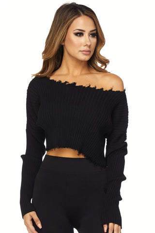 THE MYSTYLEMODE IVORY OFF THE SHOULDER 3/4 SLEEVE DOUBLE LINED CROP TOP