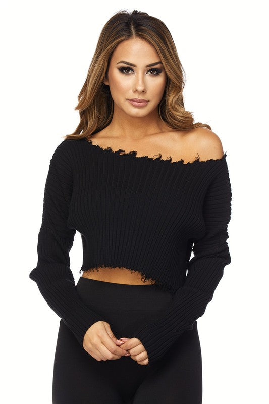 THE MYSTYLEMODE BLACK DISTRESSED LONG SLEEVE CROP TOP SWEATER