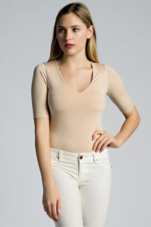 THE MYSTYLEMODE TAUPE V NECK 3/4 SLEEVE BODYSUIT