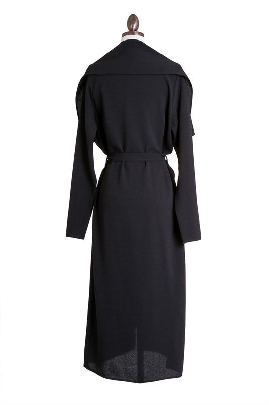THE MYSTYLEMODE BLACK OPEN CASCADING COLLAR TRENCH