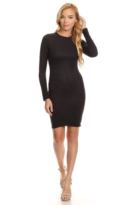 THE MYSTYLEMODE BLACK LONG SLEEVE DOUBLE LINED SUEDE DRESS
