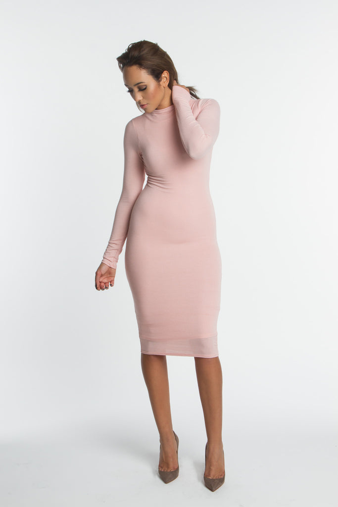 THE MYSTYLEMODE DUSTY PINK DOUBLE LINED LONG SLEEVE FUNNEL NECK MIDI DRESS