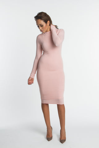 FINAL SALE-THE MYSTYLEMODE TAUPE CRISS CROSS TIE DOUBLE LINED BODYCON DRESS