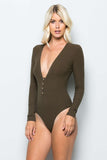 THE MYSTYLEMODE OLIVE RIBBED PLUNGING V NECK LONG SLEEVE BODYSUIT