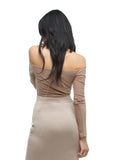 THE MYSTYLEMODE NUDE DOUBLE LINED OFF THE SHOULDER ELBOW CUT OUT BODYSUIT