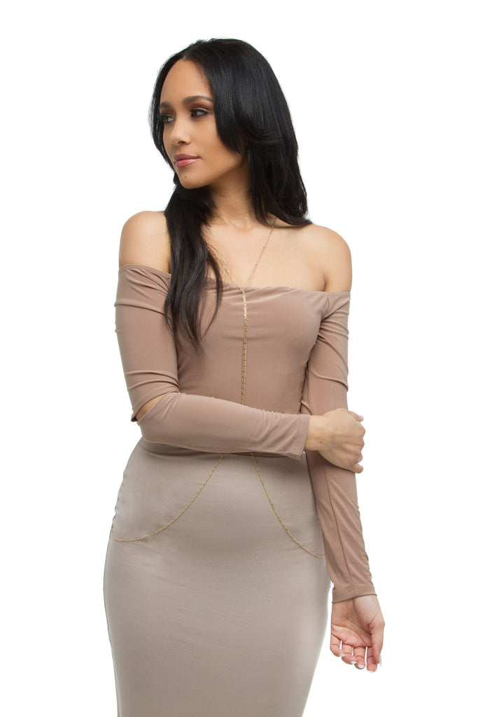 a2466983c7 ... THE MYSTYLEMODE NUDE DOUBLE LINED OFF THE SHOULDER ELBOW CUT OUT  BODYSUIT ...