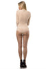 THE MYSTYLEMODE NUDE MESH CRISS CROSS FRONT LONG SLEEVE DOUBLE LINED BODYSUIT