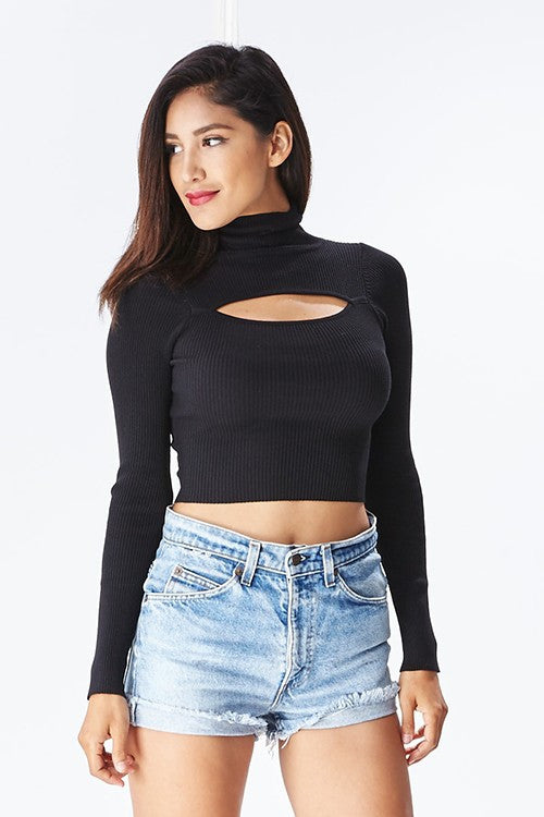 THE MYSTYLEMODE BLACK OPEN FRONT TURTLENECK LONG SLEEVE KNIT CROP TOP