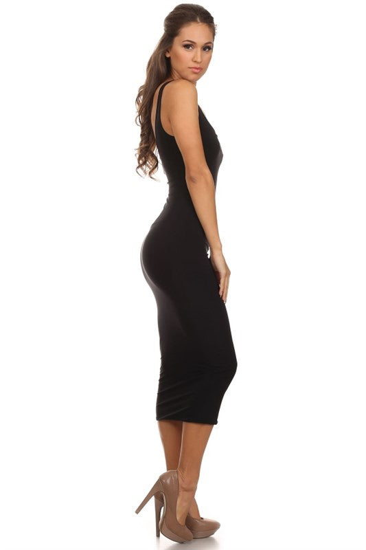 THE MYSTYLEMODE BLACK ESSENTIAL VENEZIA DOUBLE LINED TANK MIDI DRESS