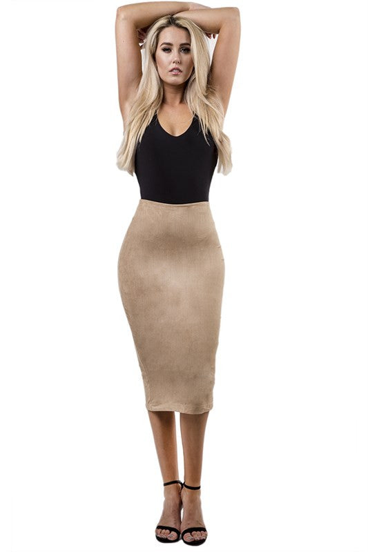THE MYSTYLEMODE NUDE SUEDE HIGH WAISTED MIDI SKIRT