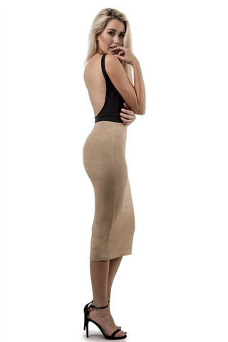 THE MYSTYLEMODE NUDE SUEDE DOUBLE LINED TURTLENECK MIDI DRESS