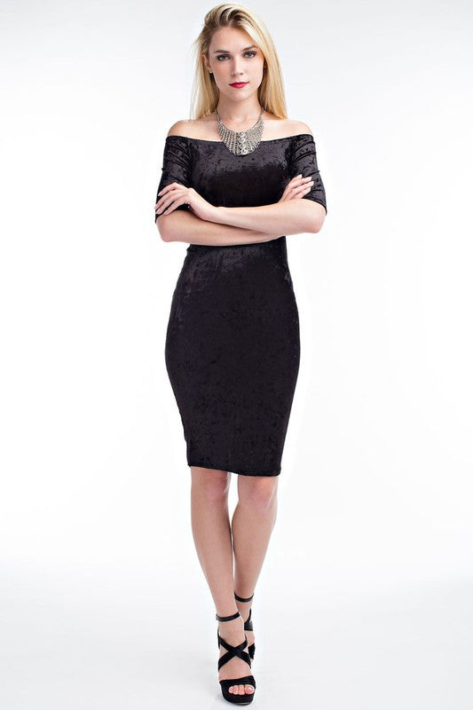 2843feea44 FINAL SALE-THE MYSTYLEMODE CRUSHED VELVET OFF THE SHOULDER MIDI DRESS