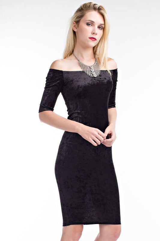 THE MYSTYLEMODE CRUSHED VELVET OFF THE SHOULDER MIDI DRESS