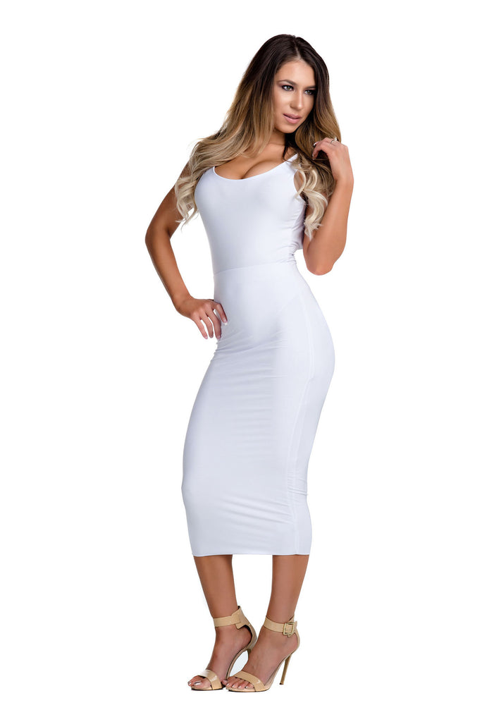 THE MYSTYLEMODE WHITE ESSENTIAL VENEZIA DOUBLE LINED MIDI SKIRT