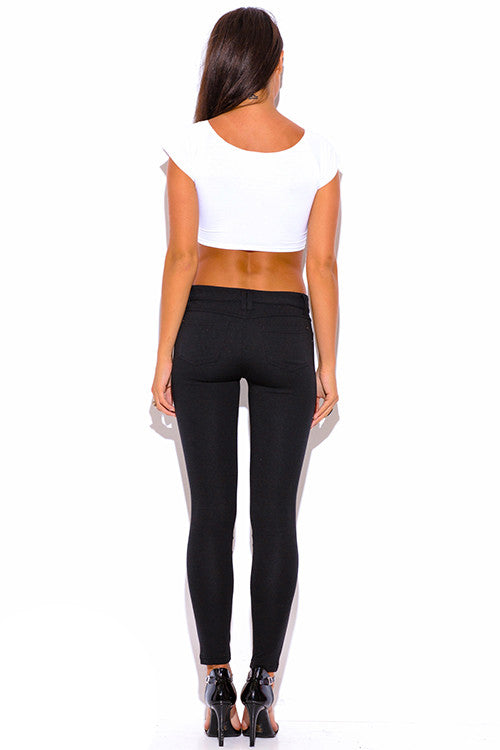 BLACK FAUX LEATHER PANEL PONTE KNIT SKINNY PANTS