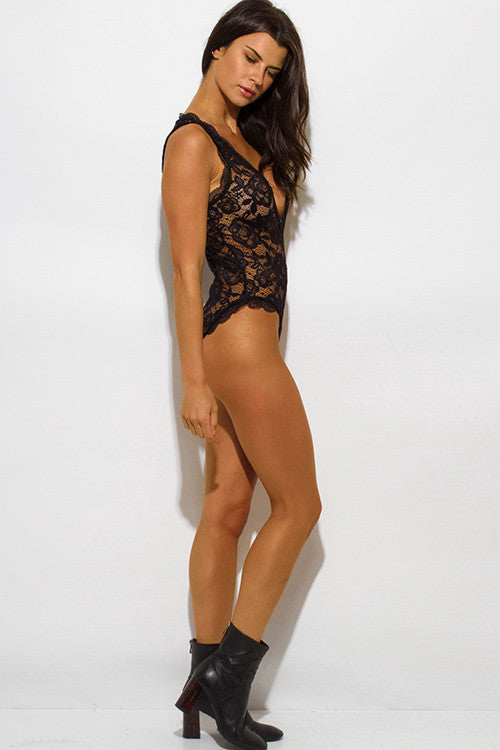 BLACK SHEER LACE V NECK SCALLOP TRIM SLEEVELESS BODYSUIT TOP